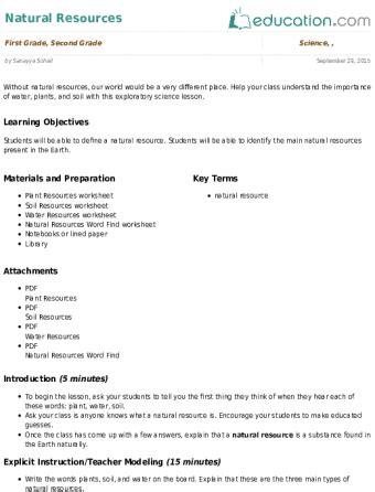 natural resources lesson plan | lesson plan | education.com