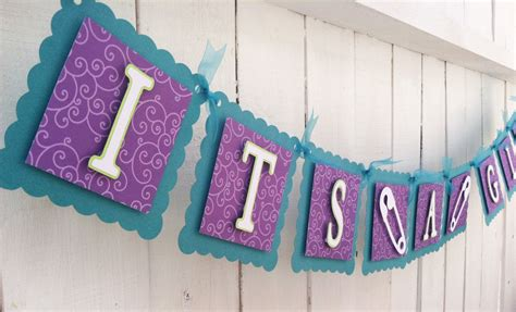 Purple Baby Shower Banner by It S A Peacock Color Purple And Teal Baby Shower