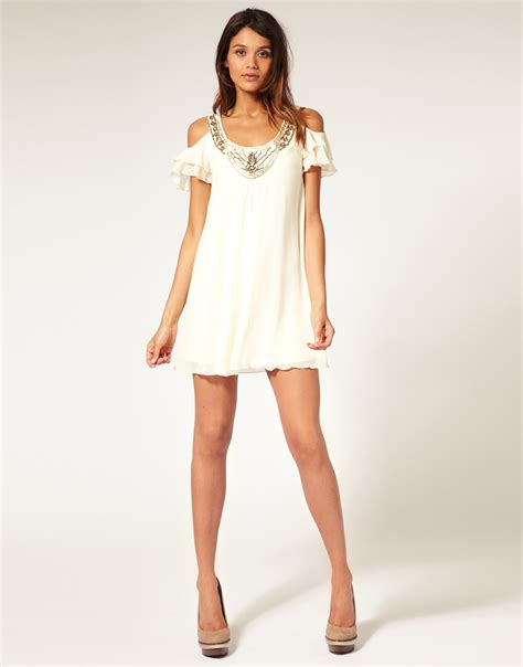neck swing dress asos collection asos swing dress with embellished neck in