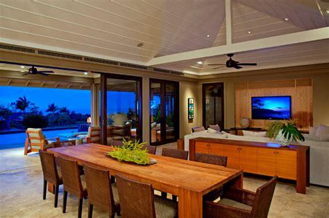 kauai great room tropical dining room hawaii  de