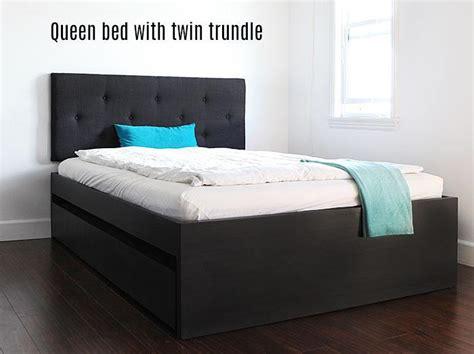 build  queen bed  twin trundle ikea hack