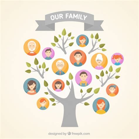 Great Family Tree In Flat Design Vector Free Download Family Tree Template Modern Flat Style Stock Vector 405185863