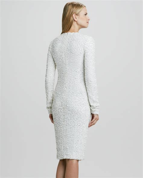 Wst 17230 Hem Sequined Dress lyst zoe adrienne fitted sequined dress in white