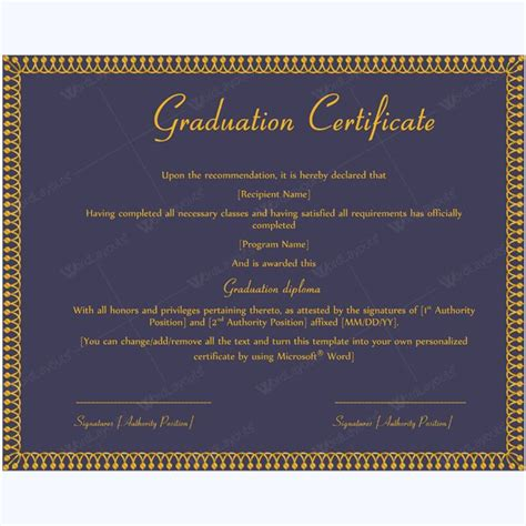 template for graduation certificate 13 best graduation certificate templates images on