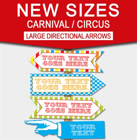 Diy Carnival Directional Sign Carnival Party Circus Party Direction Signs Template