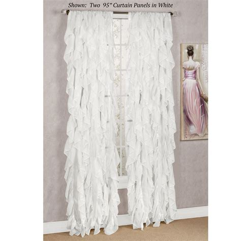 sheer ruffled curtains cascade sheer voile ruffled window treatment