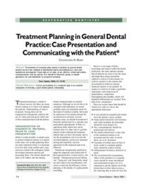 Dental Update Archive Article Treatment Planning In Dental Treatment Plan Presentation
