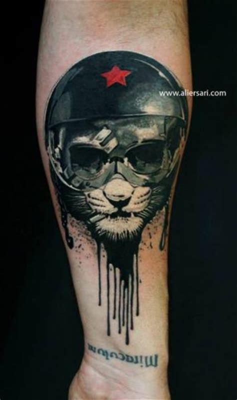 tattoo ali ersari arm fantasy cat helmet tattoo by ali ersari