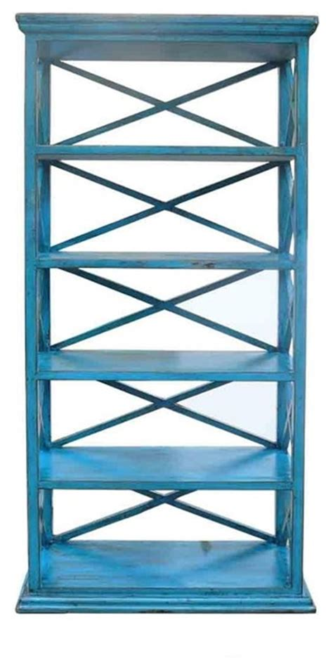 Blue Shelf by Rustic Blue Color Solid Wood Display Cabinet Book Shelf
