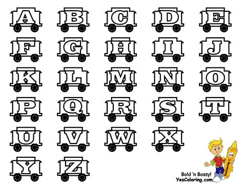 alphabet chart coloring page toy train learning letters free alphabet coloring
