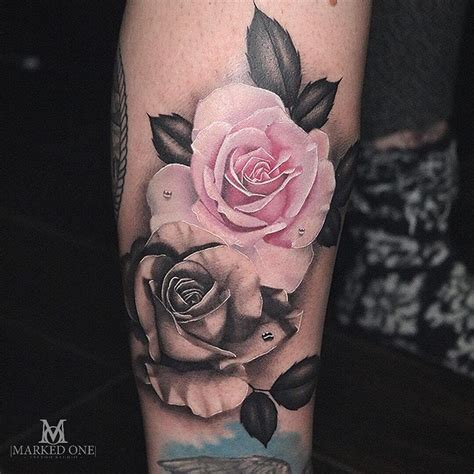 rose realism tattoo amazing colour and black and grey girly
