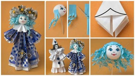 Paper Doll Craft Ideas - how to make flower doll from paper simple craft ideas