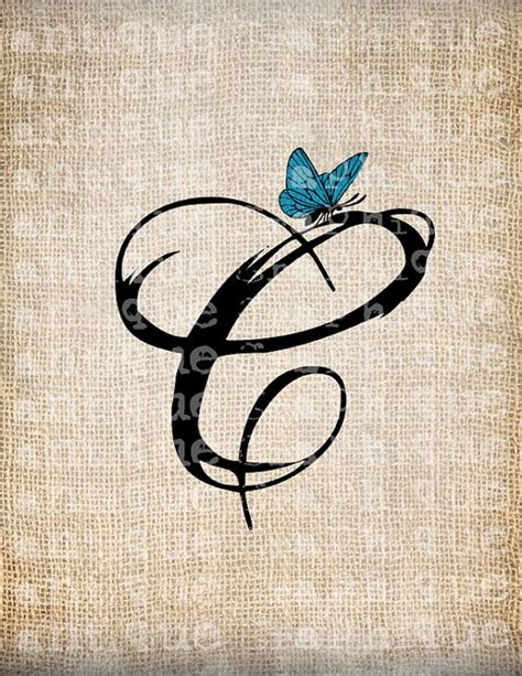 butterfly tattoo letter j antique letter c script monogram with by