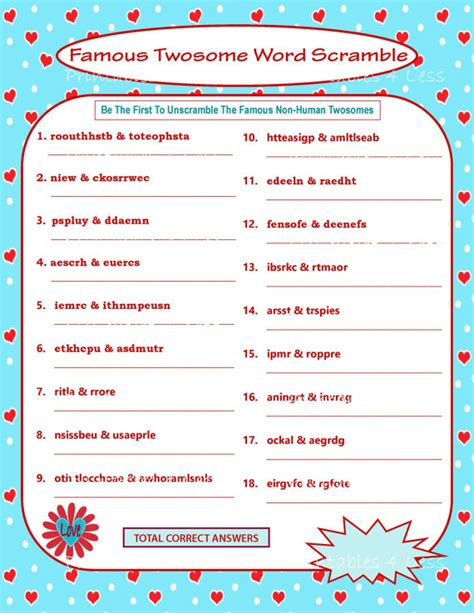 printable valentine s love is the answer game cards for printable valentine game diy printable word scramble fun