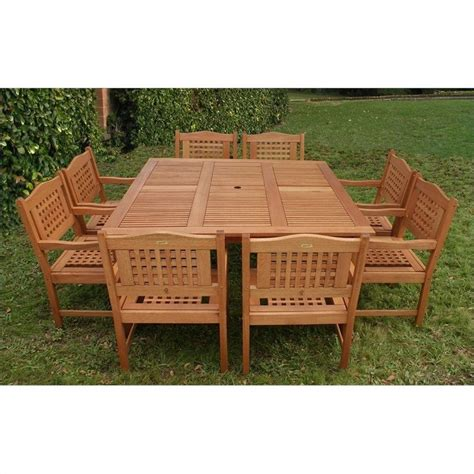 Wooden Patio Dining Sets International Home Amazonia 9 Wood Patio Dining Set In Brown Bt Square Porto