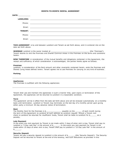 Moving Contract Template Moving Agreement Template