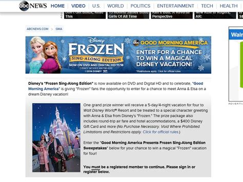 Gma Sweepstakes - good morning america frozen sing along edition sweepstakes