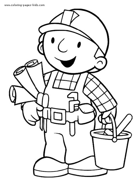 bob the builder color page cartoon color pages