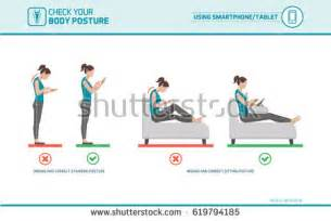 Desk Ergonomics Tips Correct Sitting Desk Posture Ergonomics Advices Stock