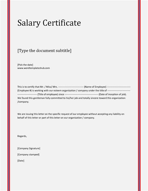 Income Certificate On Letterhead 21 free salary certificate template word excel formats