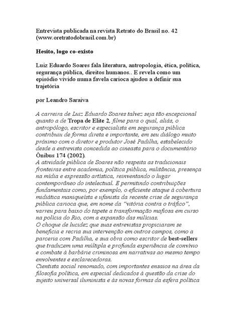 Entrevista Luiz Eduardo Soares- Por Leandro Saraiva