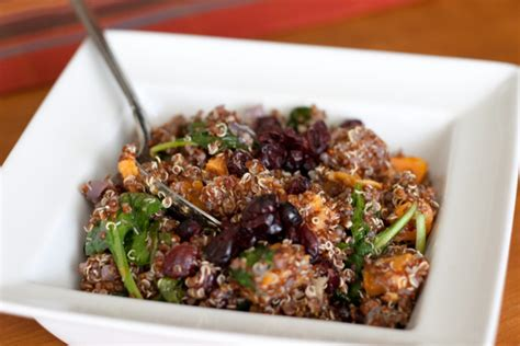 4 protein rich salads tasty quinoa salad with roasted sweet potatoes spinach and