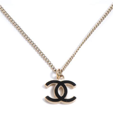 chanel enamel cc necklace black 56431