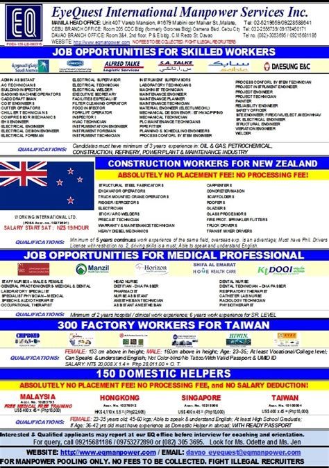 new zealand job job opportunities in new zealand and taiwan ph juander