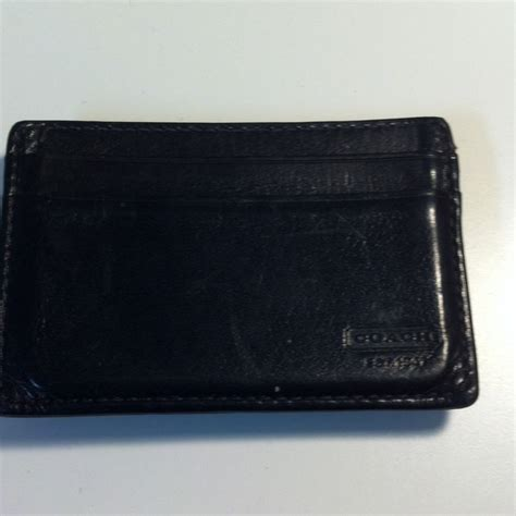 Coach Wallet F59112 Compact Id Lether Black Navy 80 coach other coach s money clip from s