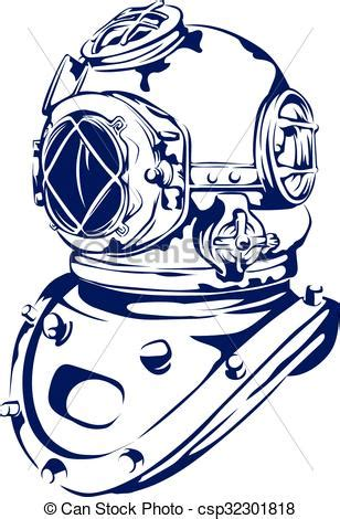 vintage diving helmet. a vector based graphic of a vintage