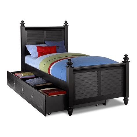 beds twin seaside black twin bed with trundle value city furniture