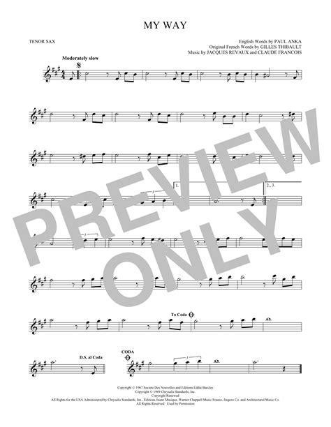 frank saxophone partition saxophone my way de frank sinatra sax tenor