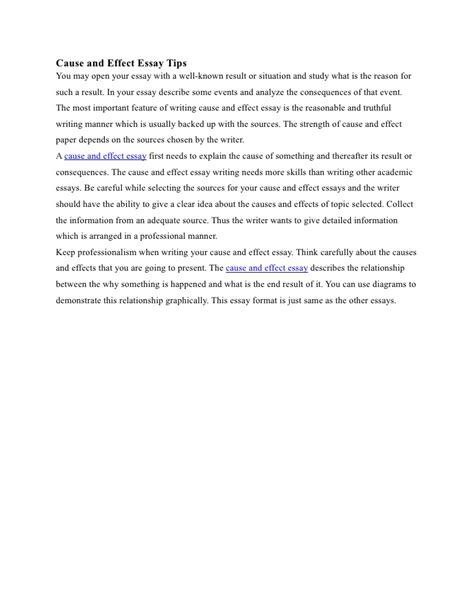 Cause And Effect Essay Tips by Cause And Effect Essay Tips