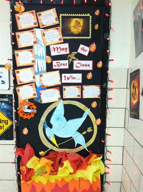 themes in hunger games book door decorating hunger games theme college pinterest
