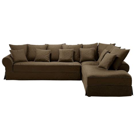 6 seater cotton corner sofa in chocolate bastide maisons