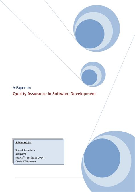 Mba Papers About Quality Assurance by Term Paper Quality Assurance In Software Development