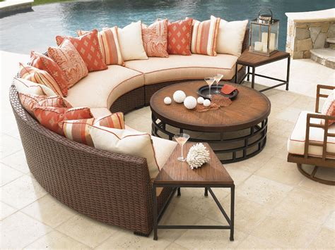 curved patio furniture bahama outdoor living outdoor patio sectional armless curved sofa 3130 82a bacons