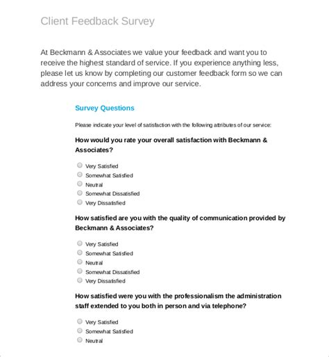 client feedback report template feedback survey templates 17 free word excel pdf