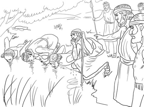 printable coloring pages for gideon gideon selects his army of 300 men coloring page free