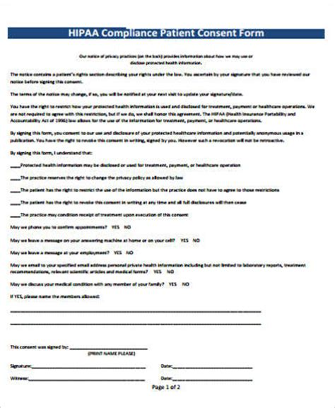 hipaa template forms 8 hipaa consent form sles sle templates