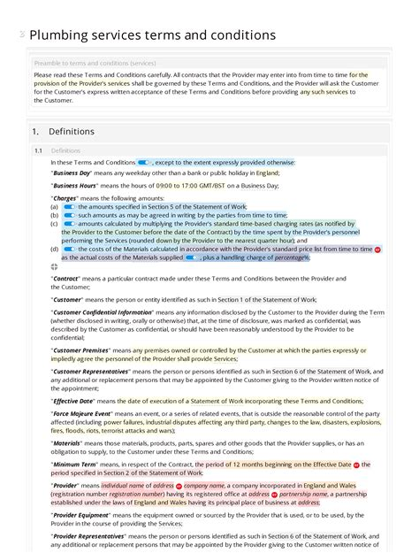 Plumbing Services Terms And Conditions Docular Plumbing Warranty Template
