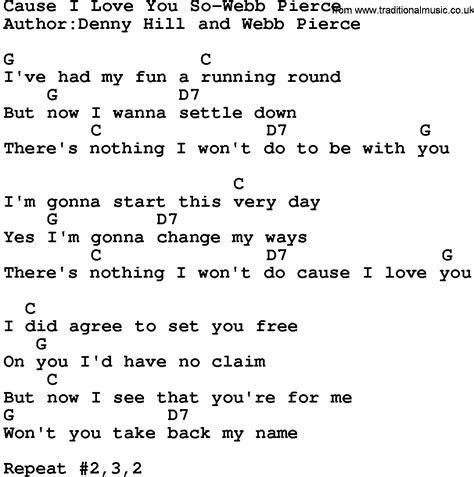 country music lyrics i love you joe country music cause i love you so webb pierce lyrics and