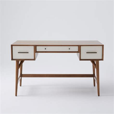 West Elm Office Desk Mid Century Desk Acorn White West Elm 桌 Grey Offices And Paint