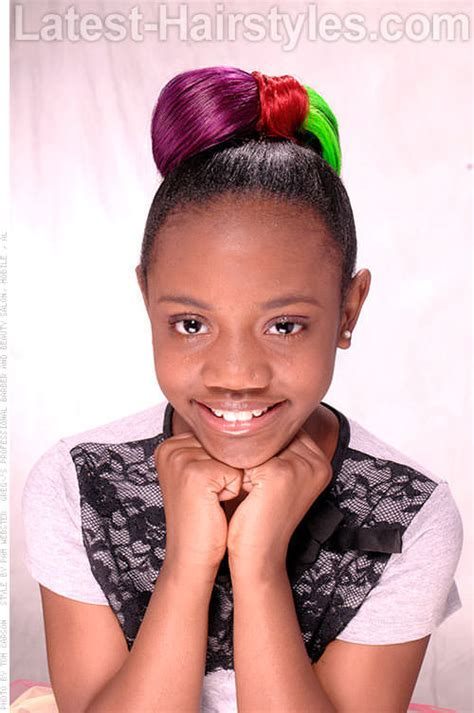 hair age 3 black kid hairstyle bowtie updo with color natural hair