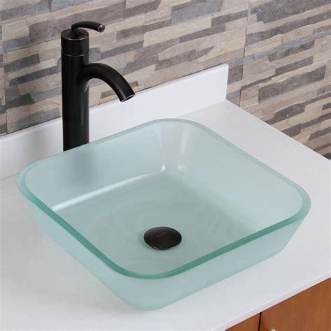 bathroom tempered glass vessel sink elite 1502 frosted square tempered glass bathroom vessel