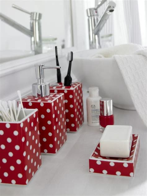 red and blue bathroom accessories red pois bath set red pots red and white polka dots