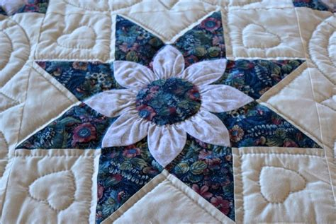amish quilt dahlia pattern in blue and ivory ebay