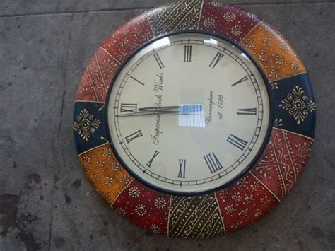 best made wall clock round indian style handmade coloured round 12 inches wall