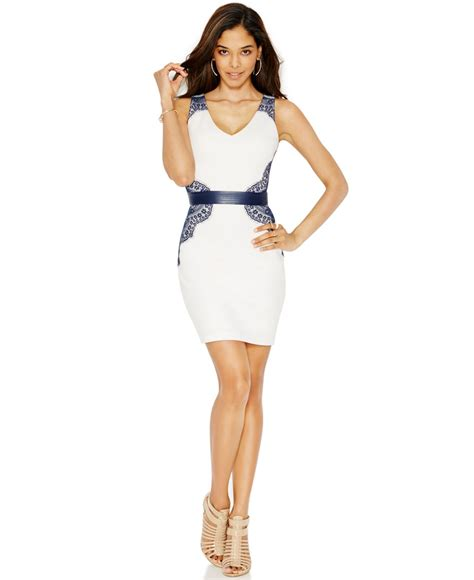 Guess Dress Spandek guess lace belted bodycon dress in white lyst