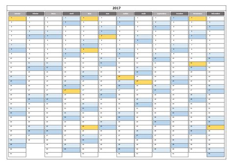 calendrier 2017 excel modifiable et gratuit excel malin